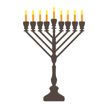 Traditional menorah isolated on white background -for the Jewish Hanukkah festival. Vector illustration. Usable for design, invitation, banner, background, poster.