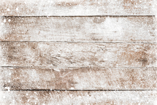 Christmas background - Old white wood texture with snow. top view, border frame design. vintage and rustic style