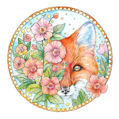Watercolor drawing face of a fox with flowers in a decorative circle