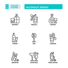 Thin line icons. Alcoholic drinks