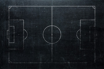 Football or soccer field isolated on blackboard texture with chalk rubbed background from top view. Sport infographics element