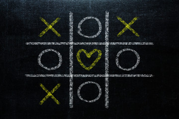 Abstract Tic Tac Toe Game Competition with heart shape in the center. XO Win Challenge Concept on black board