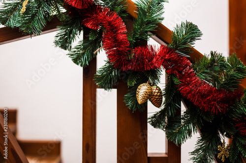 christmas or new year background with sparkly golden pine cones and fir branches space for