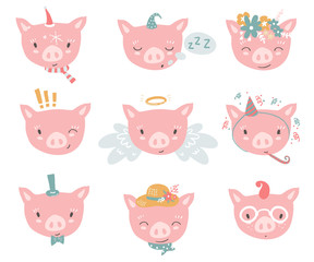 Vector collection with piglet faces. Emoji. Sleeping, angel, fou