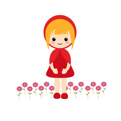 Simple vector of little red riding hood with blond short hair and flowers on her feet.