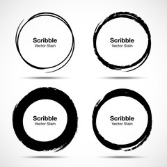 Wall Mural - Hand drawn circle brush sketch set. Grunge doodle scribble round circles for message note mark design element. Brush circular smears. Banners, Insignias , Logos, Icons, Labels and Badges. Vector illus