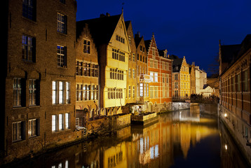 canal in ghent at night