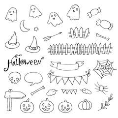 Halloween doodles set, pumpkins, spider webs, ghosts and more