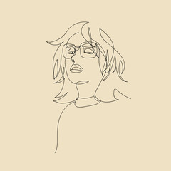 Continuous line vector of a hair girl with glasses.
