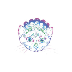 Illustration of a portrait of a psyhedelic cat. Cosmic space and pet.