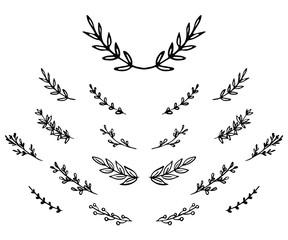 set hand-drawn doodle laurel branches
