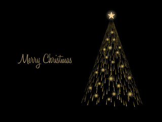 Golden light christmas tree with gold light star isolated on balck background