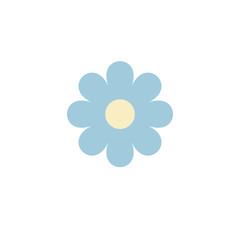 Simple vector of a blue and yellow daisy