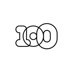 Number 100, black and white overlapping thin lines