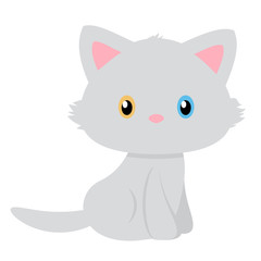 Simple vector of a beautiful kitten with eyes of different color.