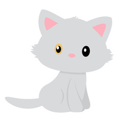 Vector of a simple and pretty gray cat with different colored eyes.