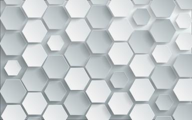 Abstract white hexagon background. vector design