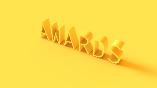 Bright Yellow 3d Awards Sign 3d illustration 3d render