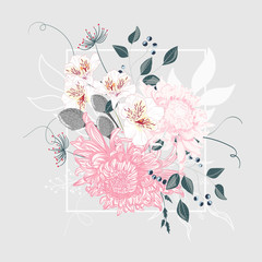 Illustration of a beautiful floral bouquet with Japanese chrysanthemum and white frame. Light gray background