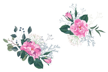 Wild rose, rosa canina dog rose garden flowers, berries, greenery and herbs set. White background for save the dates.