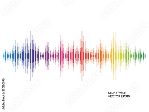 Vector sound waves dynamic colorful light flow on background