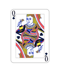 Queen of Clubs playing card with isolated on white