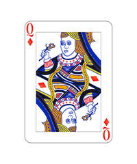 Queen of diamonds playing card with isolated on white