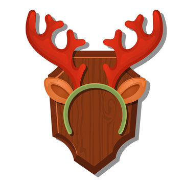 Cartoon Wall Antlers With The Headband Isolated On White Background. Vector cartoon close-up illustration.
