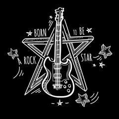 Rock star - hand-drawn black and white musical emblem