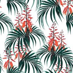 Seamless tropical pattern with palm leaves and exotic orange flower in bloom. White background.