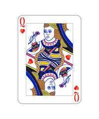 Queen of hearts playing card with isolated on white