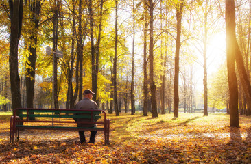 Elderly retired man sitting on a bench in a city park, retirement, autumn park and sun, pension, guardianship