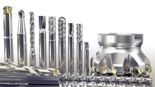 Verschiedene Werkzeuge Fräser, Bohrer zur industriellen Metallbearbeitung, weißer Hintergrund