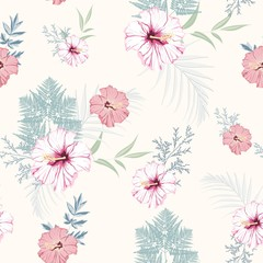 Tropical pink hibiscus flowers with blue herbs seamless pattern. Watercolor style floral background for invitation, fabric, wallpaper, print. Botanical texture. Light yellow background.
