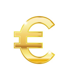 Golden euro symbol isolated web vector icon. Euro trendy 3d style vector icon. Golden euro currency sign