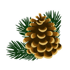 Single pinecone and twigs of pine tree isolated on white background. Sample of the poster, invitation and other cards. Vector illustration.