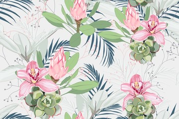 Seamless bright artistic tropical pattern with palm leaves, ficus, monstera, pink orchid and protea flower. Modern colorful tropics background or print. Light background.