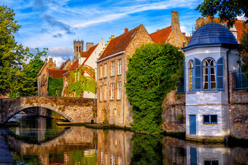 Wall Murals Bridges Historical brick houses in Bruges medieval Old Town, Belgium