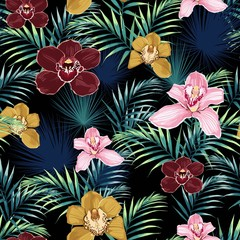 Seamless pattern, pink burgundy yellow orchid flower and green blue exotic palm leaves on black background.