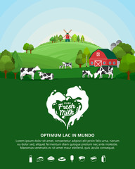 Vector milk illustration with milk splash, farm, cows and calves