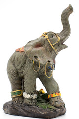 Statuette of an Asian elephant on a white background