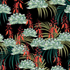 Seamless pattern vector floral watercolor style design: succulent in bloom with orange flowers and palm leaves. Rustic romantic black background print.