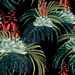 Seamless pattern floral watercolor style design: succulent in bloom with orange flowers and palm monstera leaves. Rustic black background print.