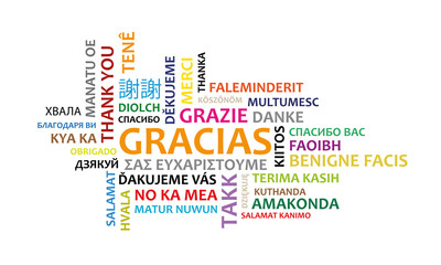 Word thanks in several languages and colors