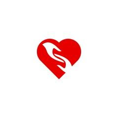 caring logo, heart style.