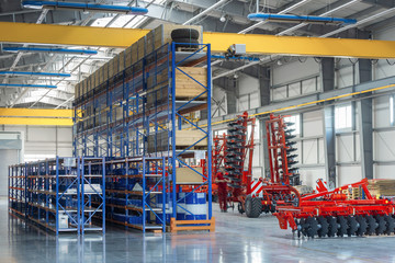 Large, spacious and light assembly shop. Manufacture of trailed and mounted agricultural equipment