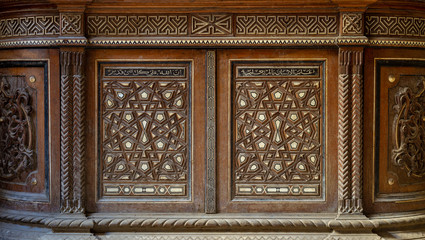 Two arabesque sashes of an old mamluk era cupboard with geometrical decorations, Zeinab Khatoon historic house, Cairo, Egypt