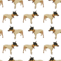 Seamless background with dogs