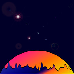 Nature vector background, landscape with forest and sun. Evening panorama of forest or wilderness on sunset. Dark starry sky.
