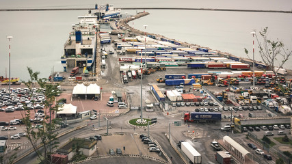 Italia, Salerno - October 22, 2018: View from above of the port